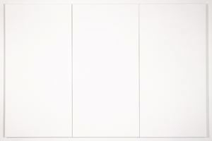 Three white painted panels of canvas