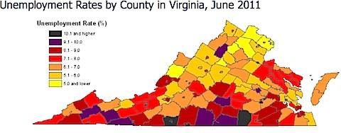 Unemployment by County in Virginia
