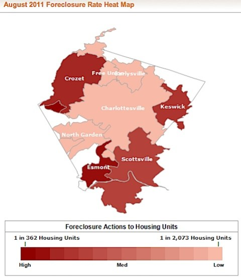 Albemarle County Foreclosure Rate and Foreclosure Activity Information Map