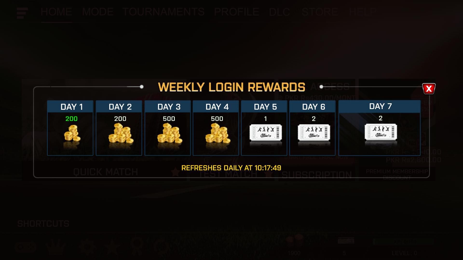 Real Cricket 18 Rewards