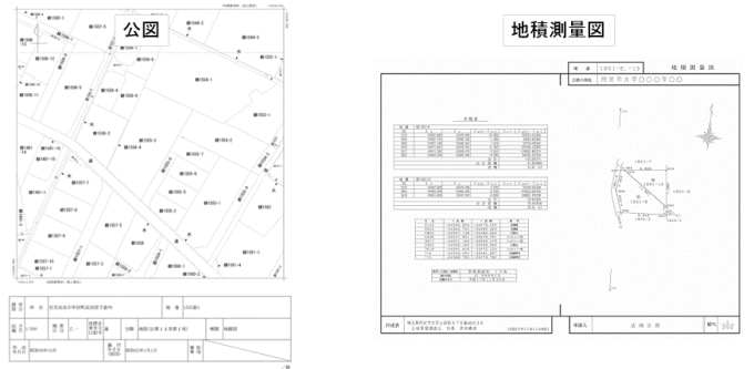 公図と地積測量図のサンプル