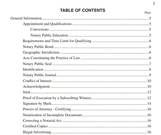 California Notary Public Handbook Table of Content