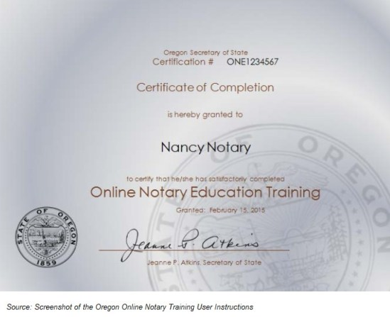 Oregon notary training certificate of completion