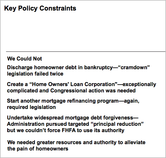Tim Geithner - Housing Policy Failures During Great Recession
