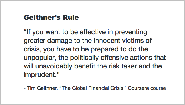 Geithner's Rule - Save the Banks, Save the World