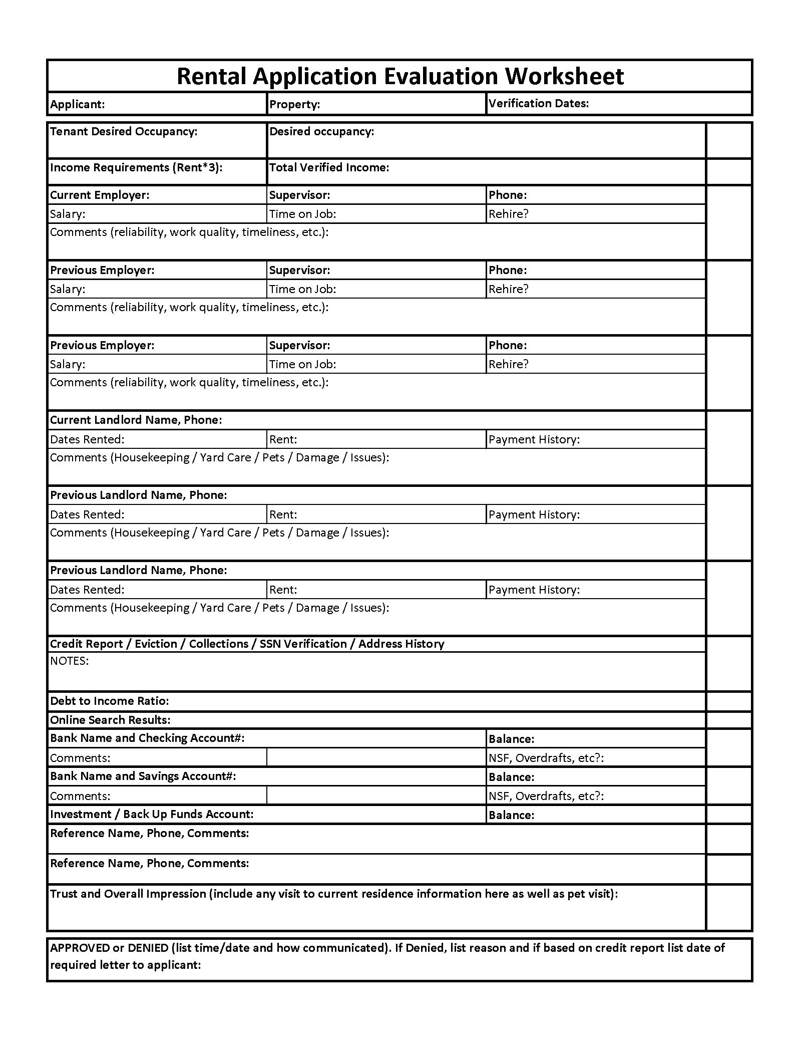 Rental Application Evaluation Worksheet