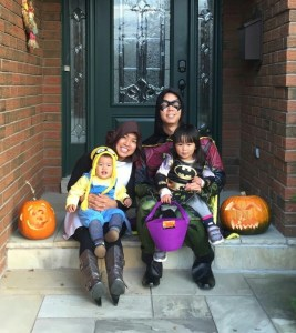 Family halloween pix before trick or treating: minion and Batgirl both had lots fun!