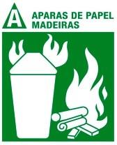 Simbolo para incêndio da classe A aparas de papéis, madeiras, tecidos