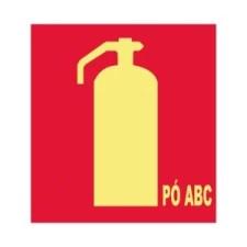Placa Fotoluminescente Extintor de Incêndio Pó ABC E5
