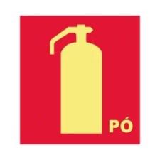 Placa Fotoluminescente Extintor de Incêndio Pó E5