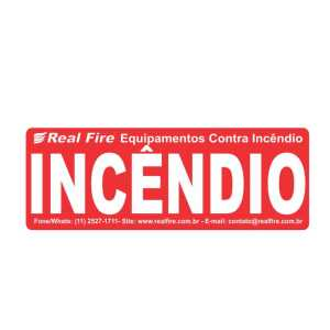 Etiqueta adesiva com a inscrição INCÊNDIO para ser utilizado no visor da caixa de Hidrante de Mangueira de incêndio