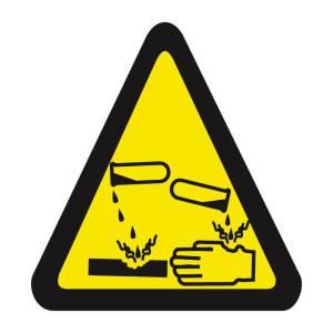 Placa sinalização fotoluminescente cuidado risco de corrosão A4
