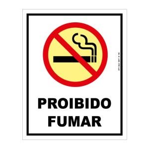 Placa sinalização fotoluminescente proibido fumar P1