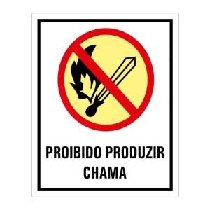 Placa de sinalização fotoluminescente proibido produzir chama P2