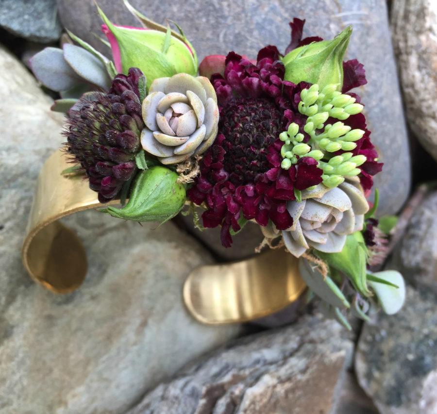 floral jewelry, floral bracelet, real flower business, Alison Ellis