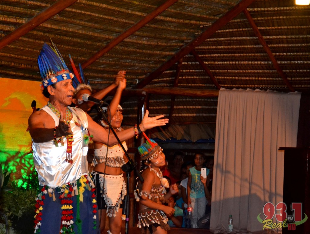 Orealla village resident Andy Peneaux and group perform a song. The artiste is more popular in neighbouring Suriname , where he performs at cultural events