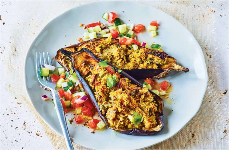 Stuffed aubergine recipes vegan chekwiki stuffed aubergines with cuber and tomato salad recipe stuffed aubergines with cuber and tomato salad tesco real food forumfinder Image collections