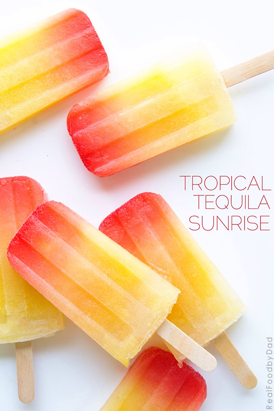 Tropical Tequila Sunrise Popsicles with Real Food by Dad