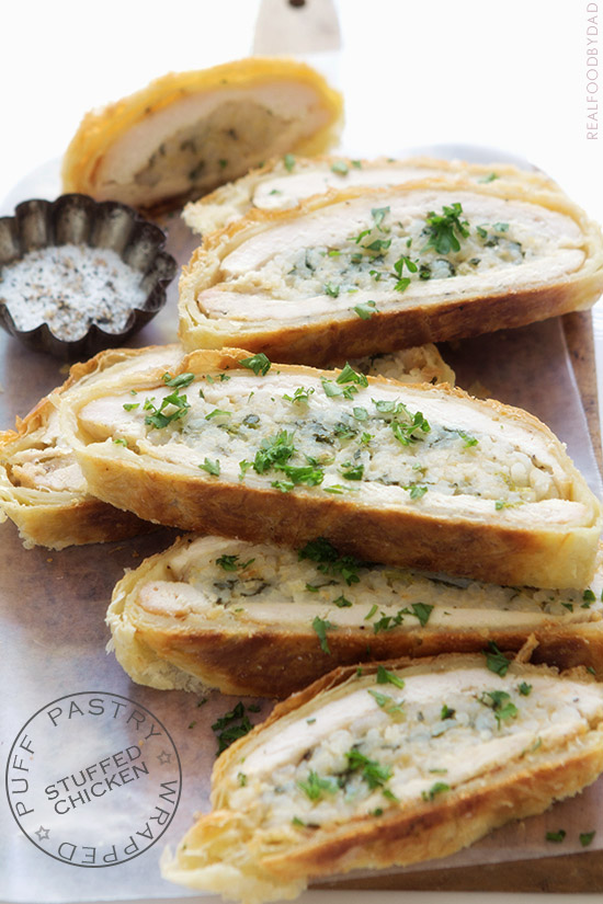 Puff Pastry Wrapped Stuffed Chicken