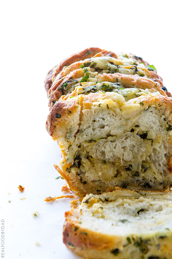 Easy Cheese and Roasted Garlic Pull-Apart Bread from Real Food by Dad
