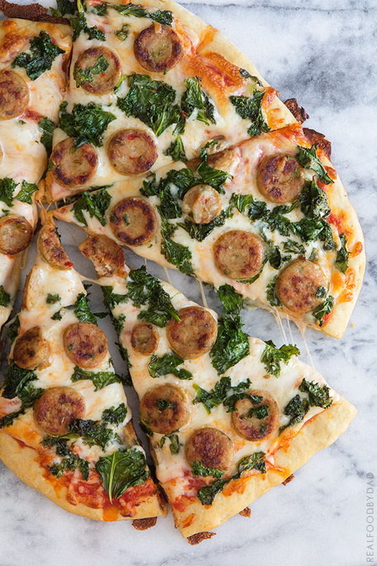 Balsamic Kale & Chicken Sausage Pizza | Real Food by Dad