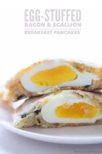 Egg Stuffed Bacon Scallion Breakfast Pancakes via Real Food by Dad