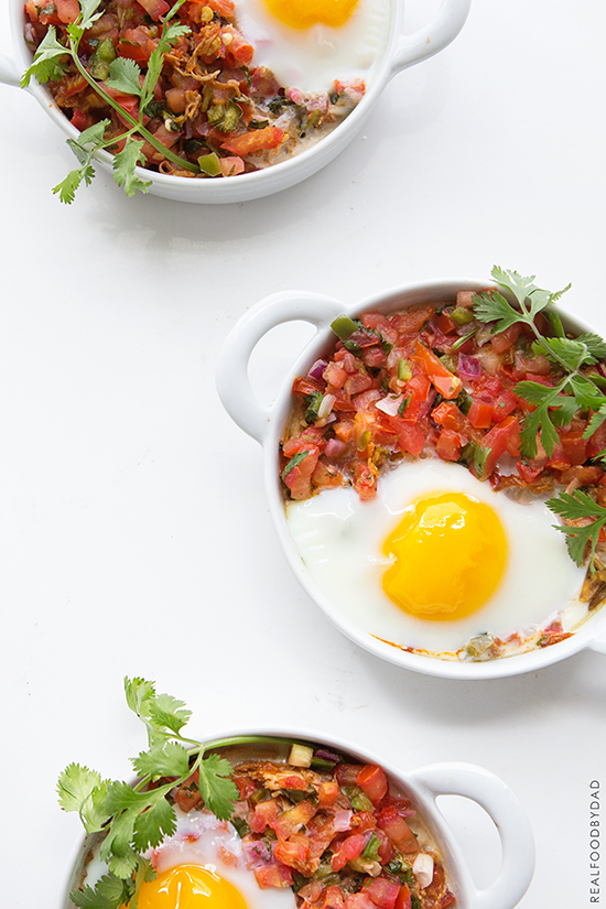 Baked Eggs With Shredded Chicken And Salsa