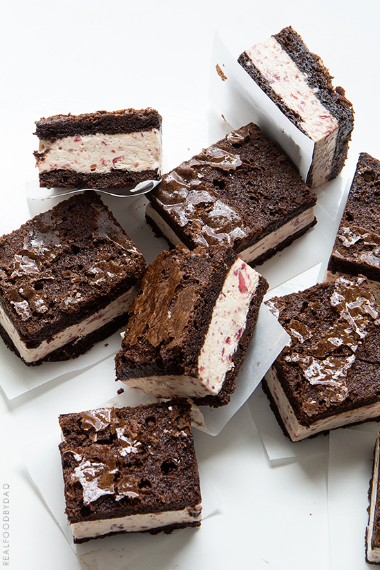 Strawberry Ice Cream Brownie Ice Cream Sandwiches _ Real Food by Dad