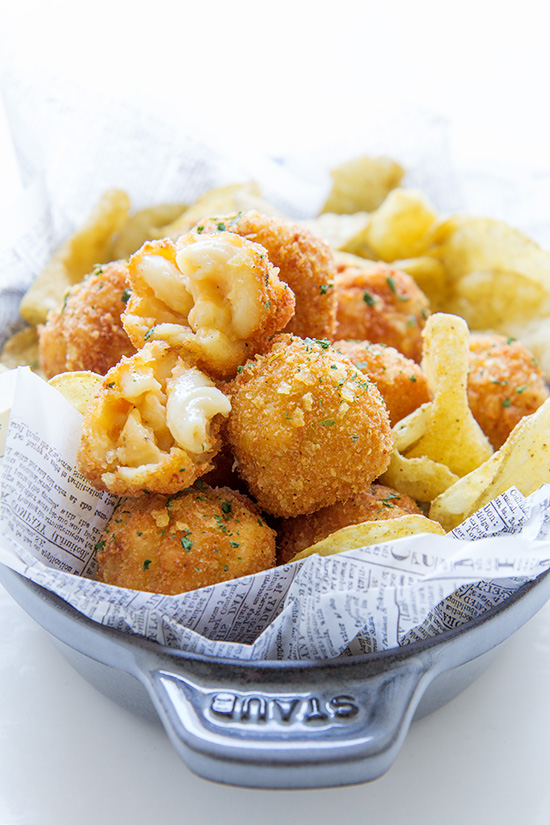 Fried Macaroni and Cheese Balls via Real Food by Dad