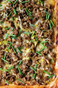 Sausage and Leek Puff Pastry Pizza