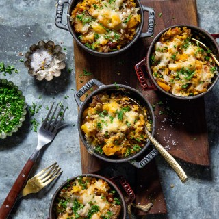 Butternut Squash and Sausage Rice Casserole