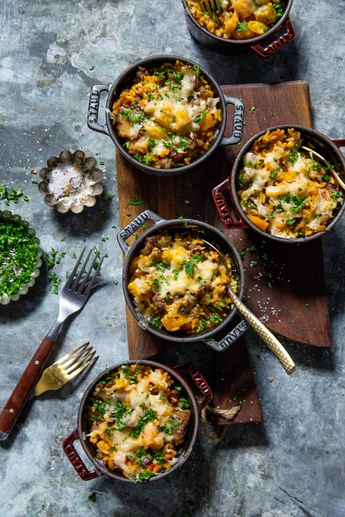 Butternut Squash and Sausage Rice Casserole via Real Food by Dad