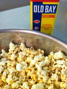 popcorn with butter and Old Bay
