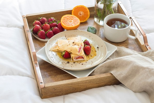 Strawberry Crepes with Pixie Caramel | brunch or breakfast in bed recipe
