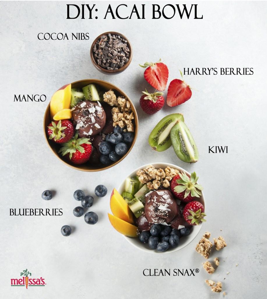 vegan breakfast, acai bowl, clean snax, harry's berries