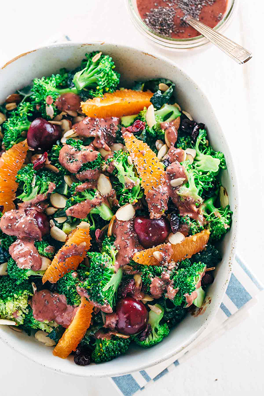 The Best of Whole30 Recipe Roundup l superfood broccoli salad with cherry chia dressing