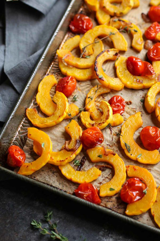 The Best of Whole30 Recipe Roundup l roasted delicata squash with tomatoes