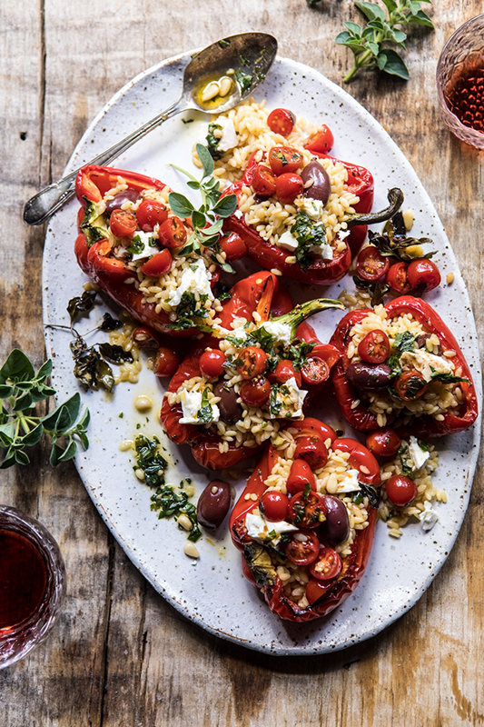 25 delicious ways to celebrate National Pepper Month l greek orzo stuffed peppers