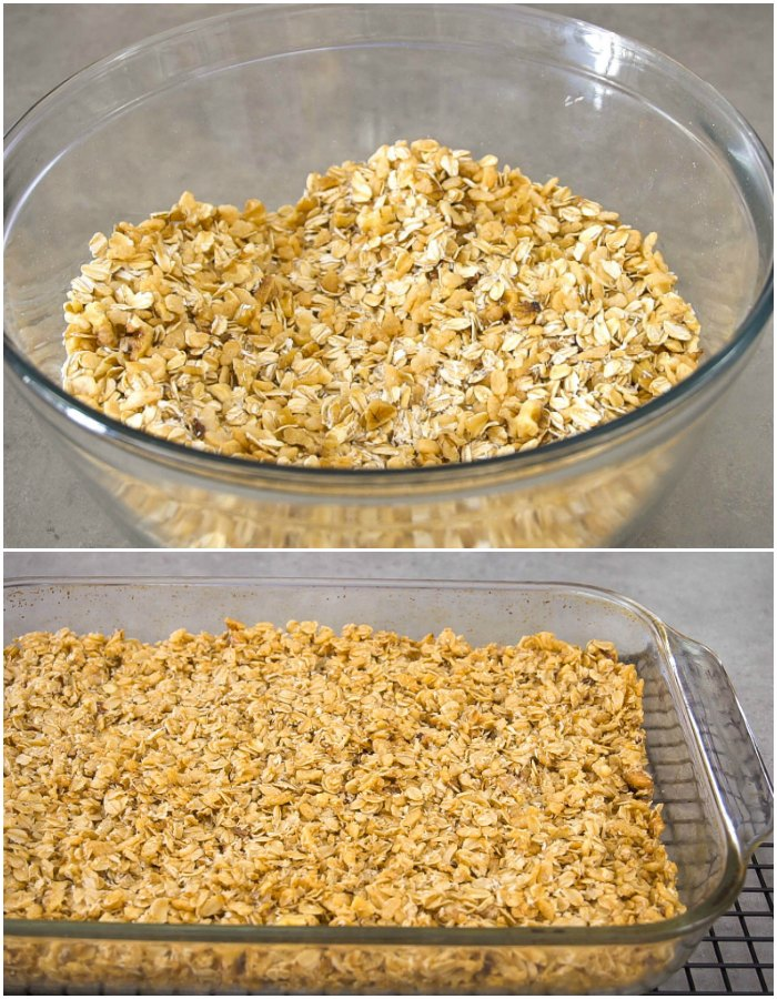 This easy granola takes just a couple minutes to mix together.
