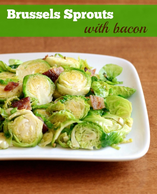 Brussels Sprouts and bacon are the perfect match. This is healthy, delicious side dish for Thanksgiving or any old night! Recipe from Real Food Real Deals