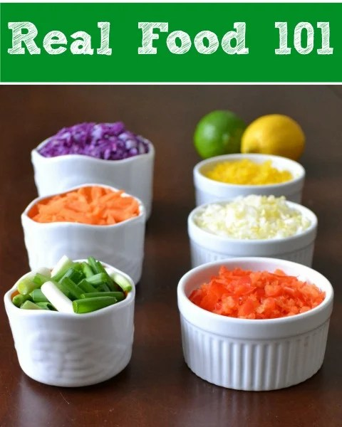 Real Food 101 provides guidelines about what types of food should be included in a whole food diet. Follow these principles for some great health benefits.