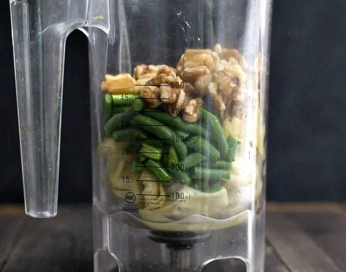 Artichoke garlic scape pesto in the blender