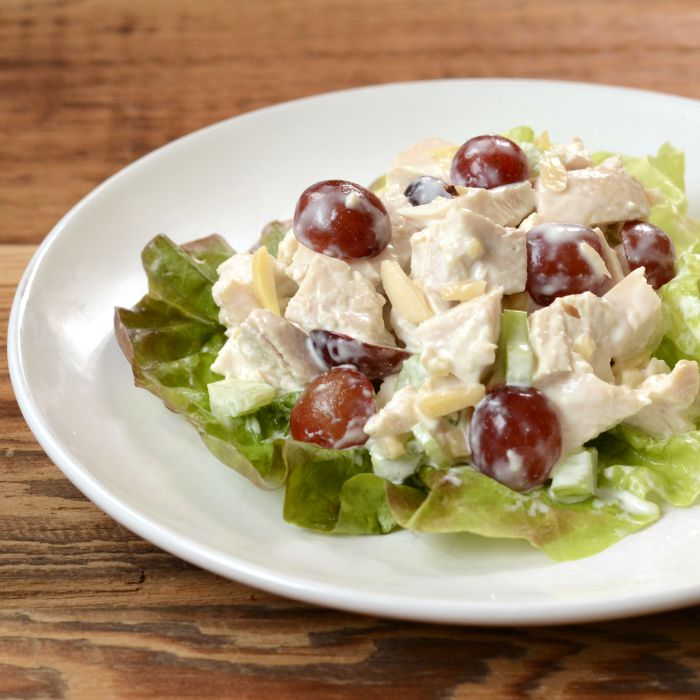 Chicken salad with grapes and almonds is a classic potluck recipe that's the perfect combination of savory and sweet.