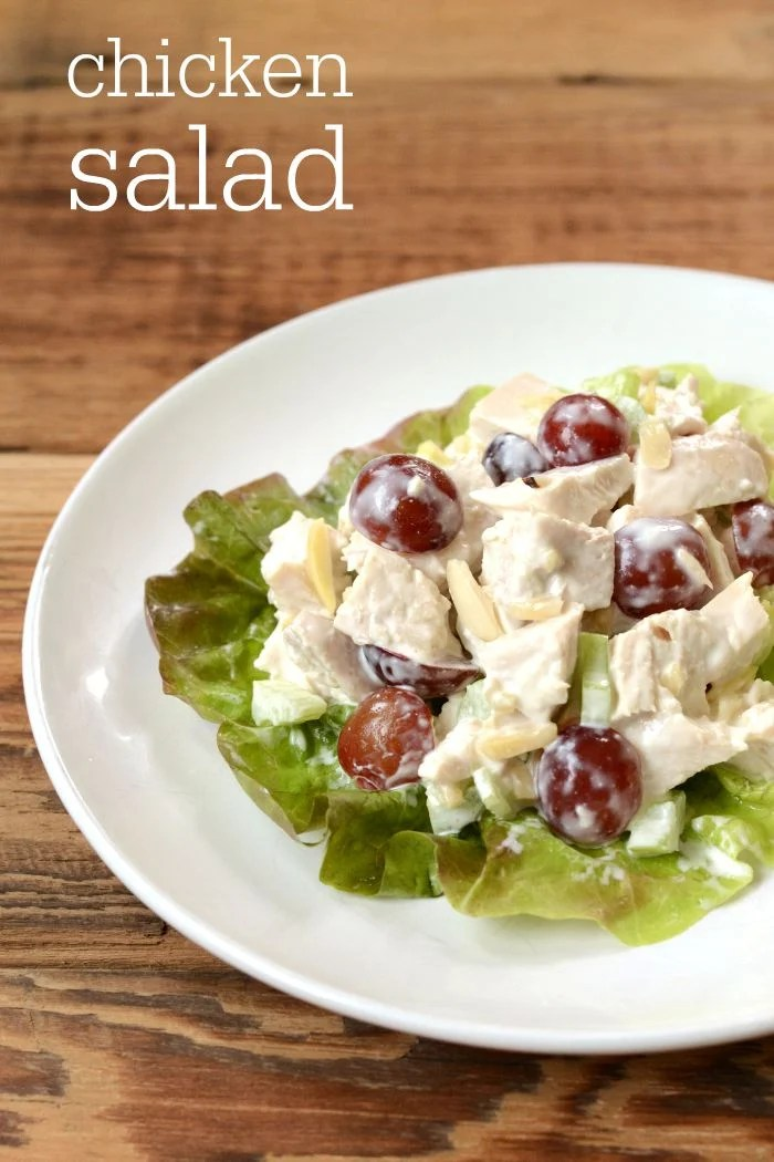 This chicken salad with grapes and almonds is a delicious twist on the classic recipe. It's a healthy combination of savory and sweet flavors.
