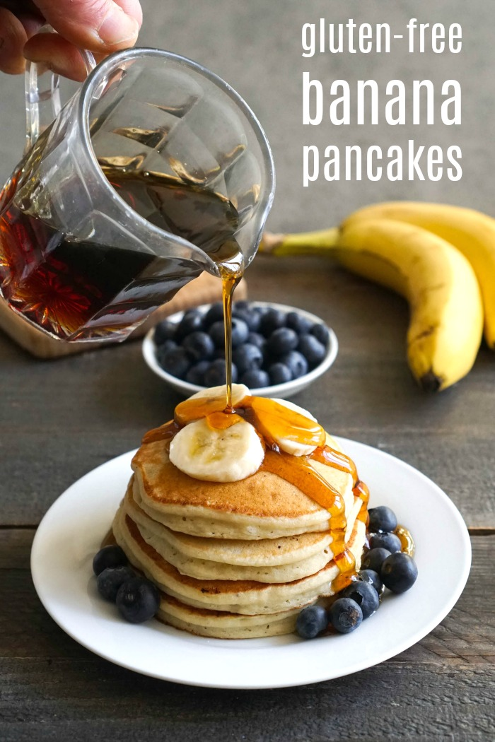 These delicious gluten free banana pancakes are a healthy breakfast to start your day. This is an easy recipe for any day of the week.