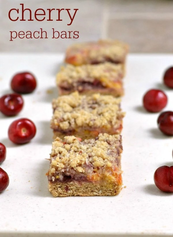 These delicious, healthy cherry peach bars are a great snack or breakfast on the go. Try this healthy recipe for a delicious summer treat!