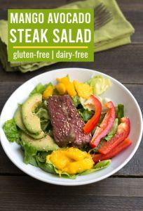 This mango avocado steak salad is one of my favorite healthy dinner recipes.