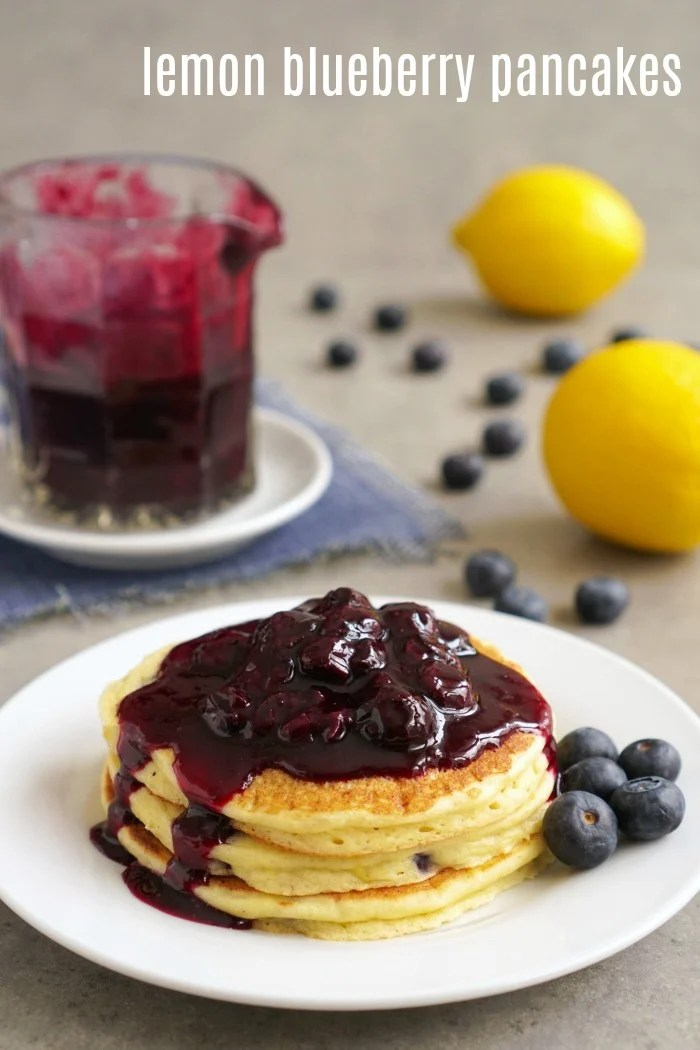 These lemon blueberry pancakes are so fluffy and delicious! Ricotta cheese gives them their light texture, and the homemade blueberry sauce gives them the best flavor.