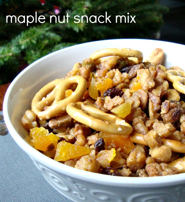 This maple nut snack mix is so addictive! This is a great appetizer or finger food recipe for the big game.