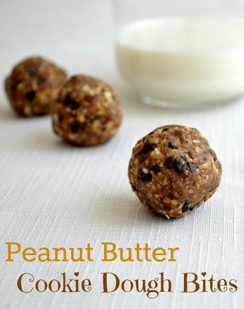 I can't stop eating these peanut butter cookie dough bites! Thank goodness they're a healthy snack. | Recipe from Real Food Real Deals